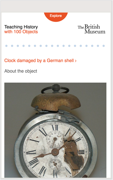 A page showing object detail for Teaching History in 100 Objects