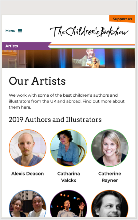 The Childrens Bookshow Artists page