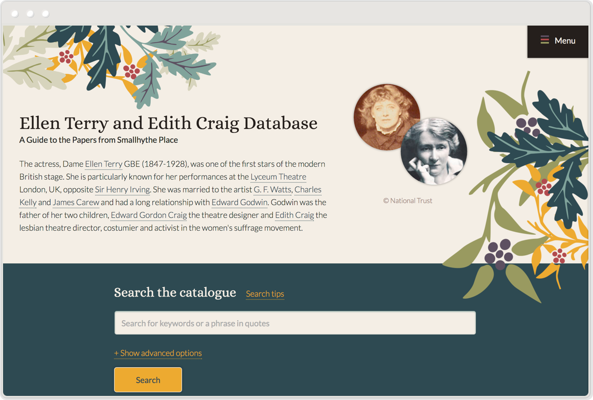 One homepage of the Ellen Terry and Edith Craig Archive
