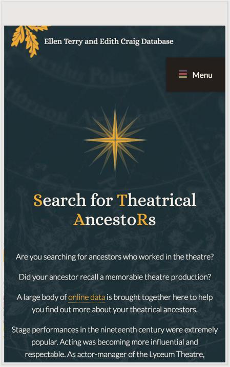 Searching for Theatrical Ancestors entry point